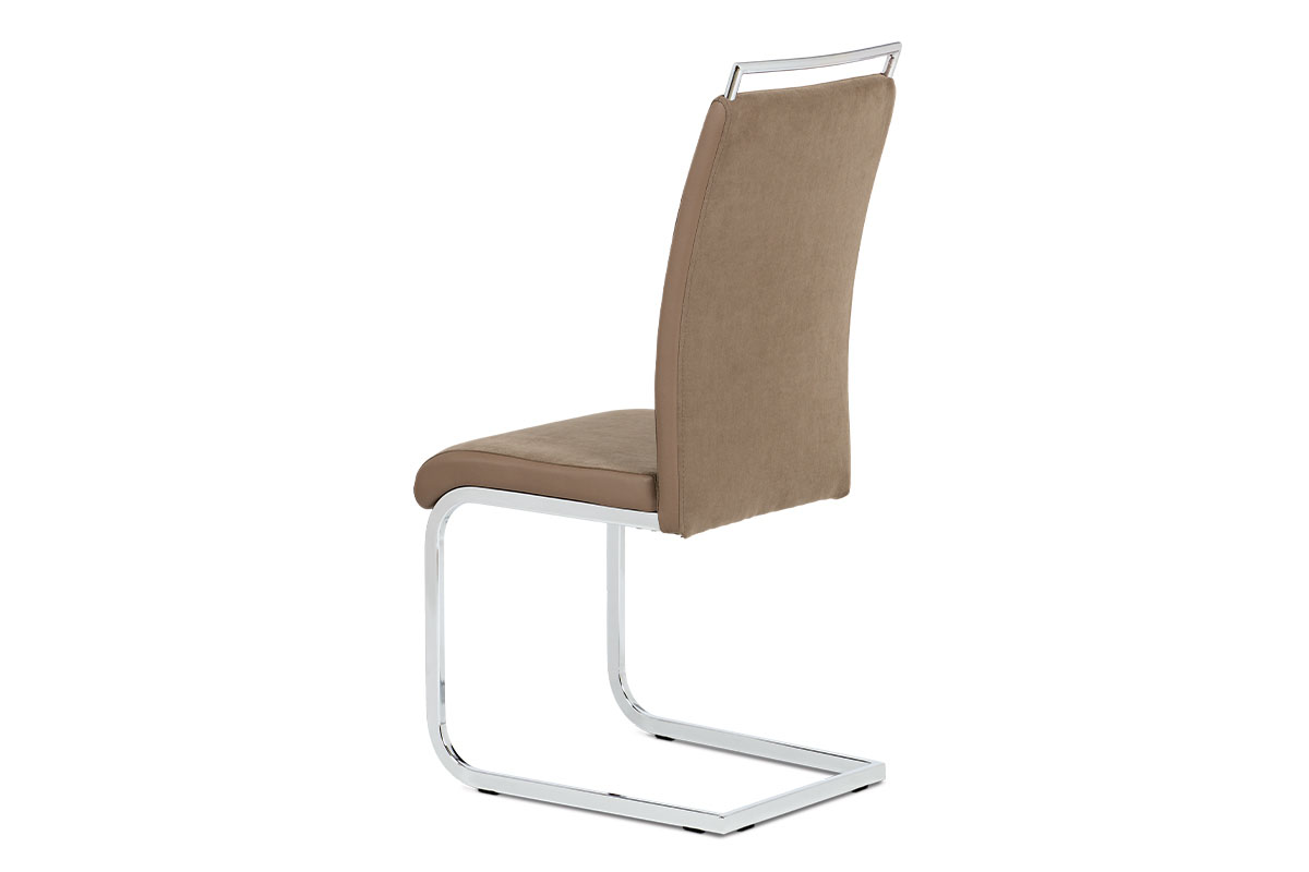 Jídelní židle lanýžová látka + hnědá koženka / chrom - DCL-966 LAN2
