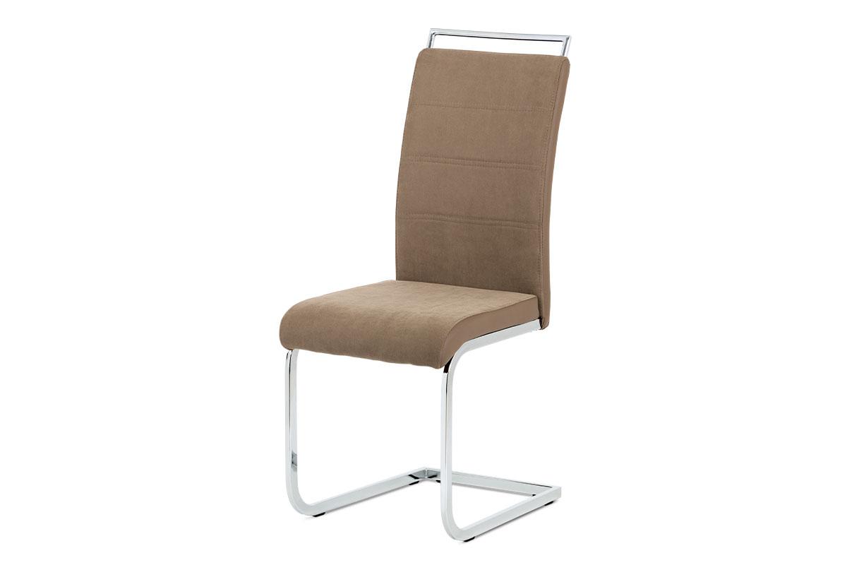 Autronic - Jídelní židle lanýžová látka + hnědá koženka / chrom - DCL-966 LAN2