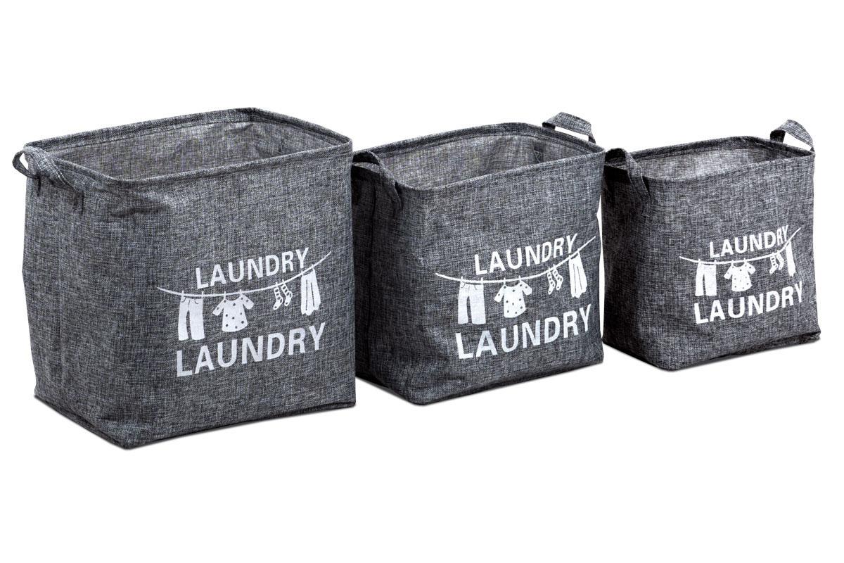 Autronic - Košík na prádlo plátěný,  sada 3 kusy, barva šedá - DD3101