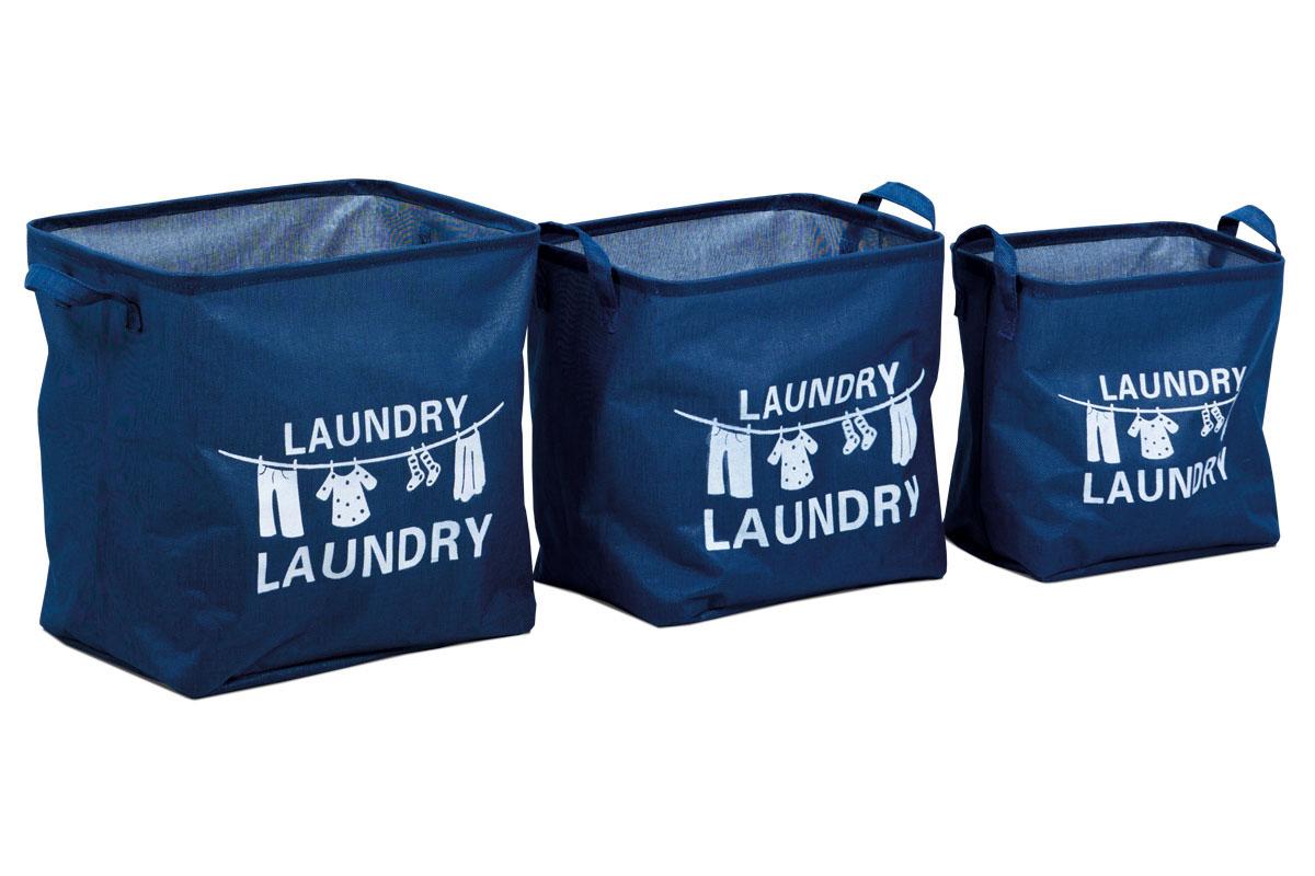 Autronic - Košík na prádlo plátěný, sada 3 kusy, barva modrá - DD3102
