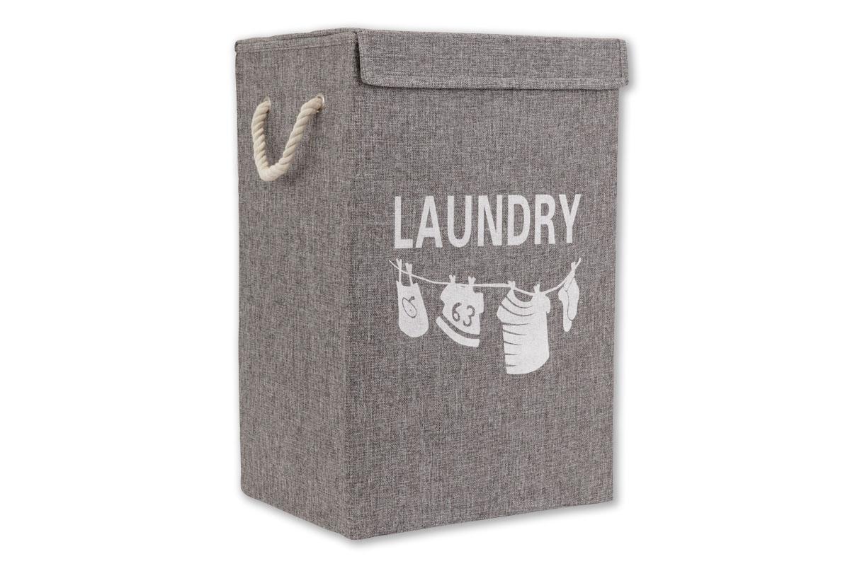 Autronic - Koš na prádlo plátěný, barva šedá - DD3103