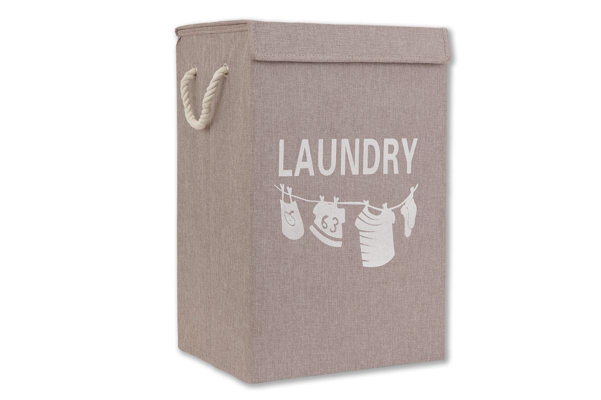 Autronic - Koš na prádlo plátěný, barva hnědá - DD3104