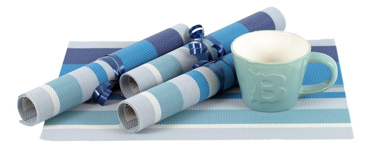 Autronic - Plastové prostírání - barva modrý proužek 40x30 cm - DK-1717