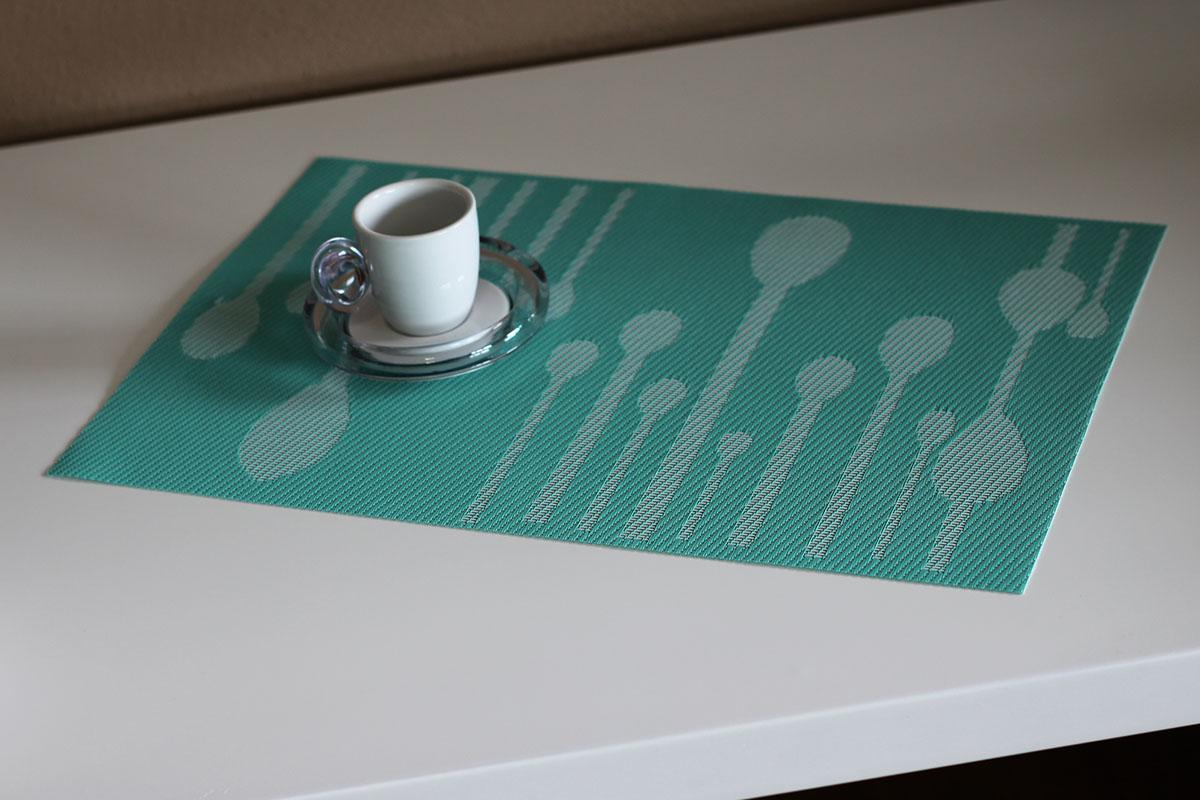 Autronic - Prostírání plastové - tyrkysové s dekorem - DK5002