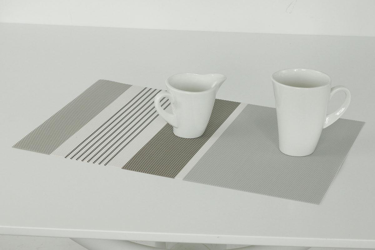 Autronic - Prostírání plastové - šedo-hnědý proužek - DK5040