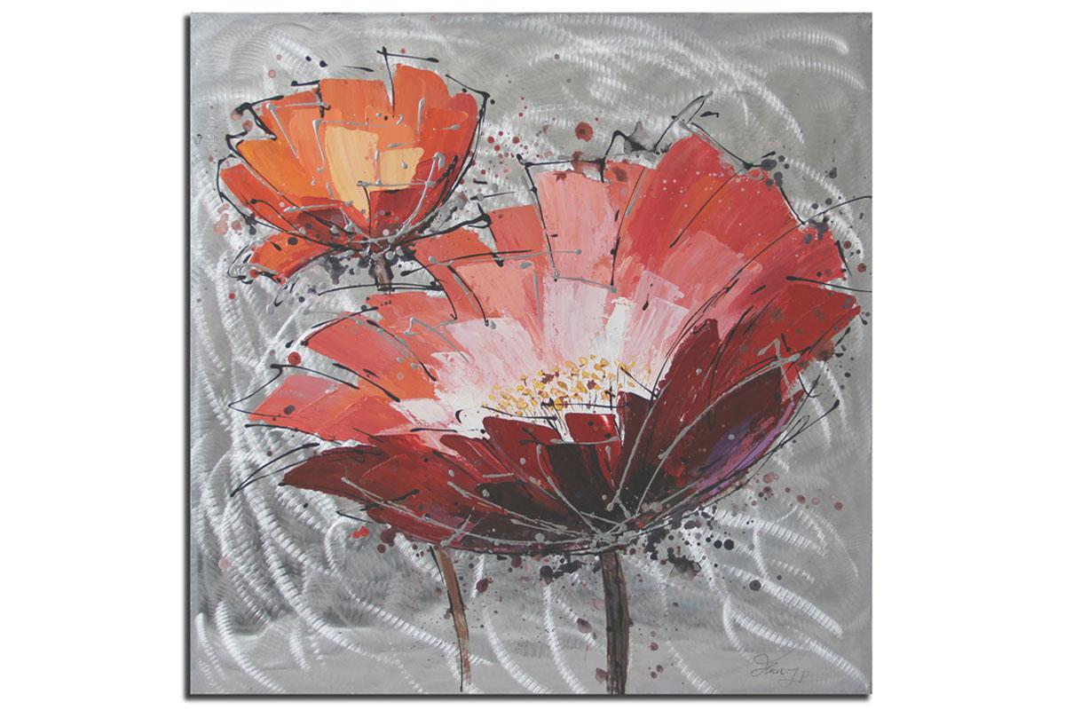 Autronic - Obraz - červený květ , ruční olejomalba s kovovými exekty - DOR039