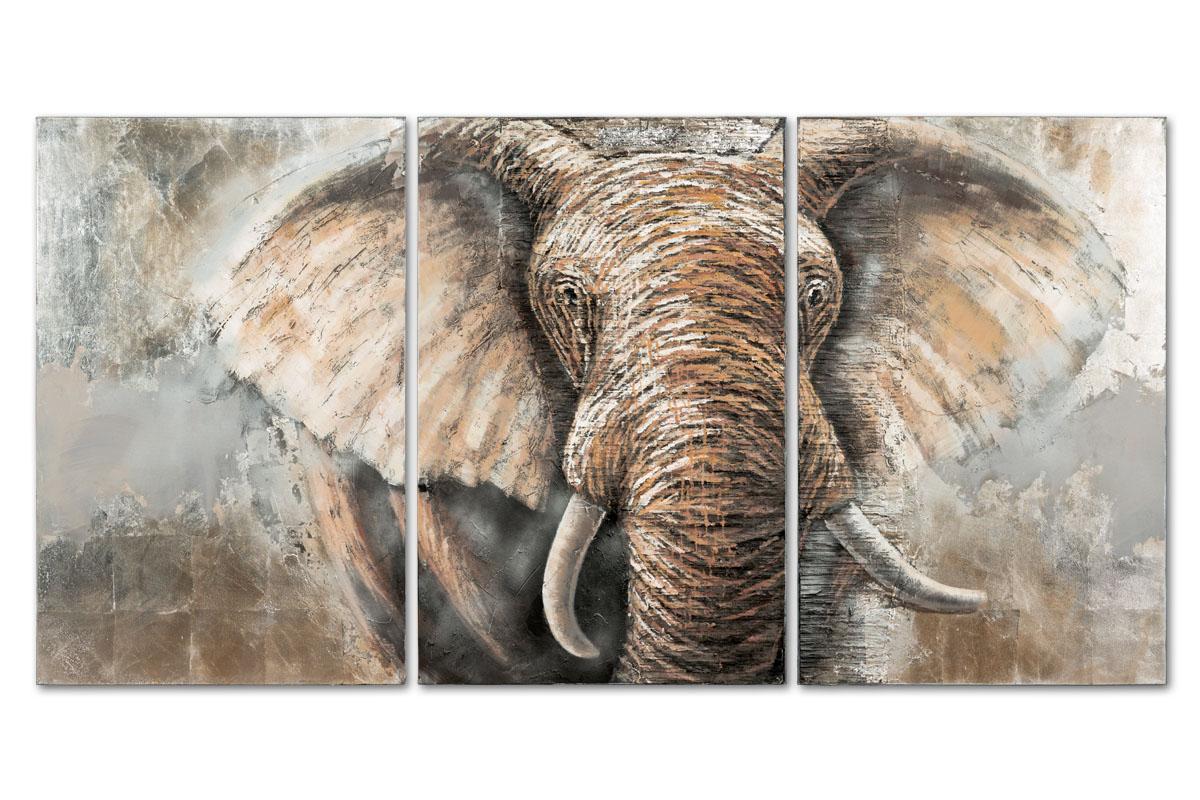 Autronic - Obraz - slon, ruční olejomalba na plátně. Sada 3 kusy, - DOR040