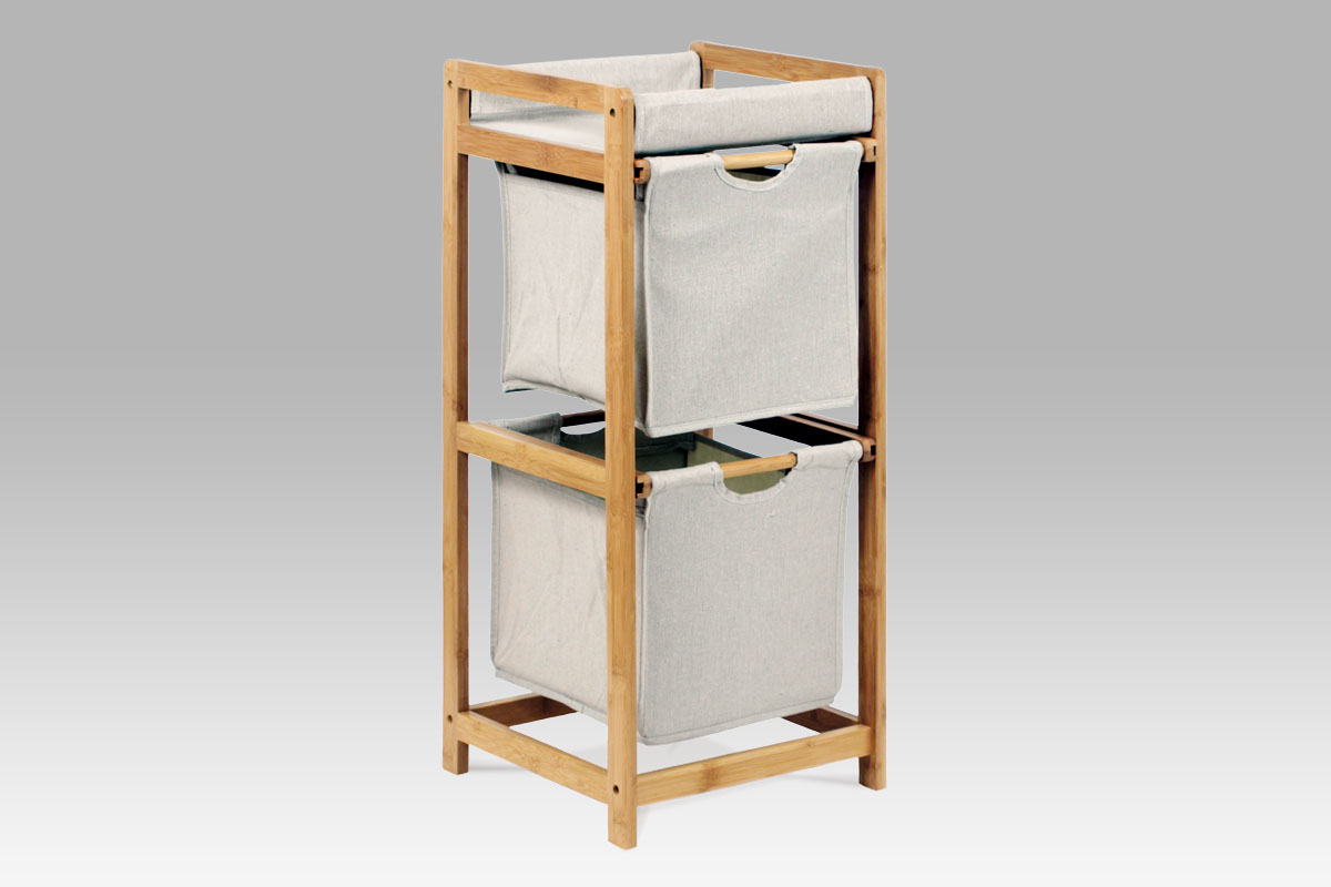 Autronic - Regál 2 šuplíky, lakovaný bambus a látka - DR-012-2