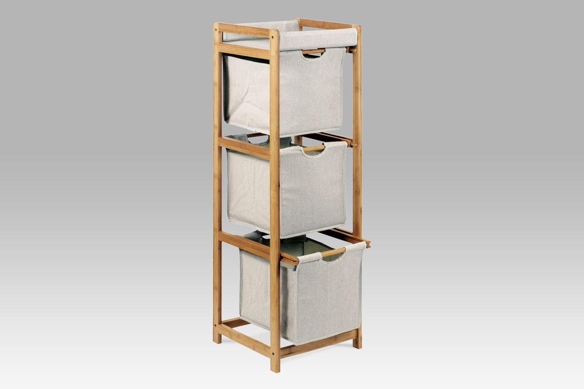 Autronic - Regál 3 šuplíky, lakovaný bambus a látka - DR-012-3