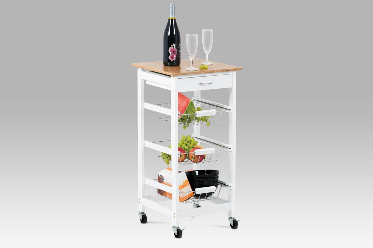Autronic - Regál na kolečkách s úložnými košíky, kostra MDF, vrchní deska bambus. - DR-043