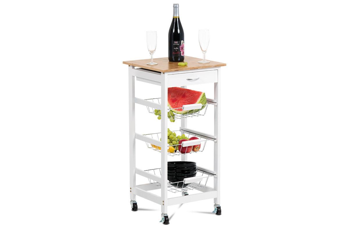 Autronic - Servírovací stolek / regál na kolečkách s úložnými košíky, kostra MDF, vrchní deska bambus. - DR-043