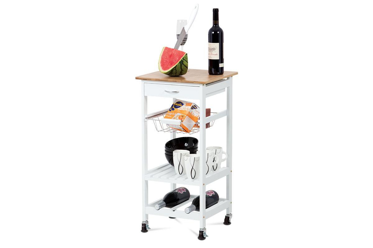 Autronic - Servírovací stolek / regál policový na kolečkách, kostra MDF, vrchní deska bambus. - DR-044