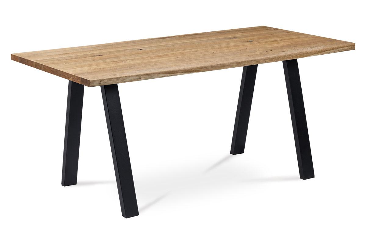 Autronic - Jídelní stůl 160x90x75 cm, masiv dub, povrchová úprava olejem, kovová podnož, černý matný lak, - DS-K160 OAK
