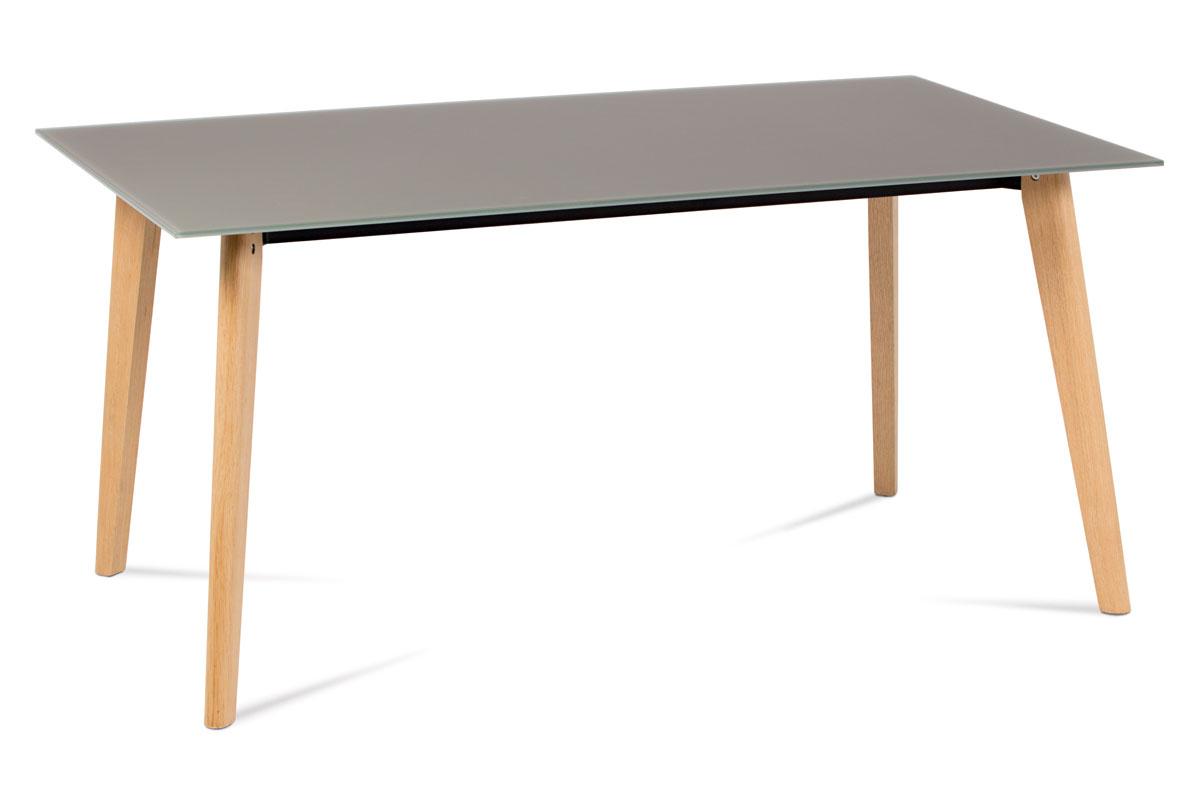 Autronic - Jídelní stůl 160x90 cm, cappuccino sklo / dub - DT-1091 CAP