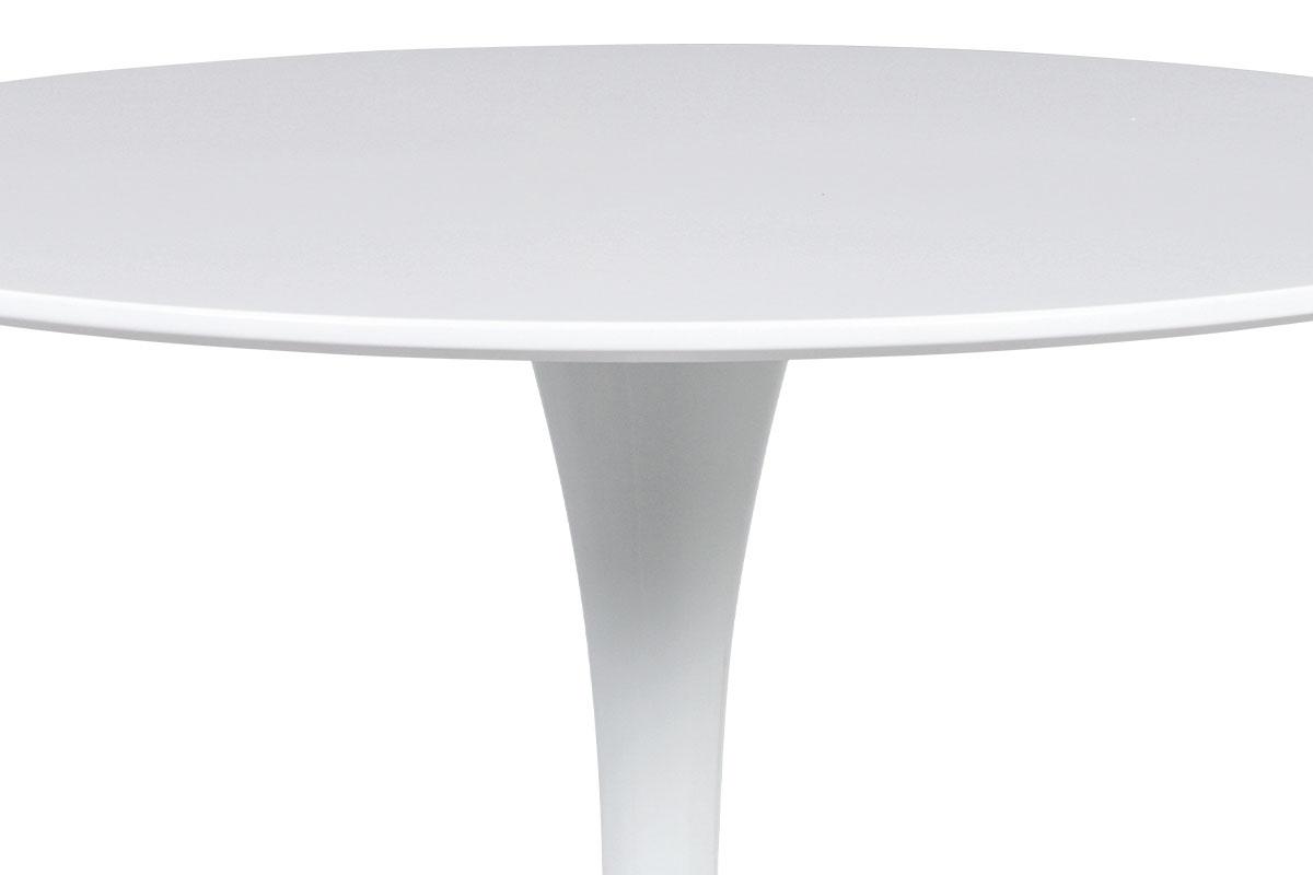 Jídelní stůl pr.80x73 cm, bílá matná MDF, kov bílý vysoký lesk - DT-580 WT