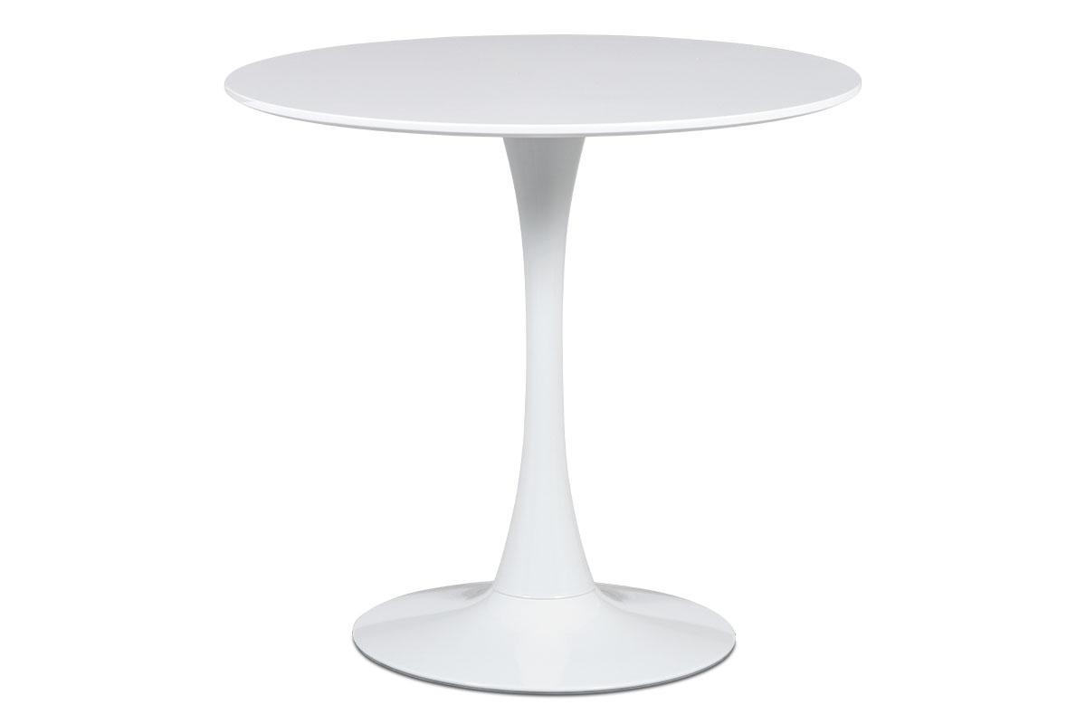 Jídelní stůl pr.80x73 cm, bílá matná MDF, kov bílý vysoký lesk