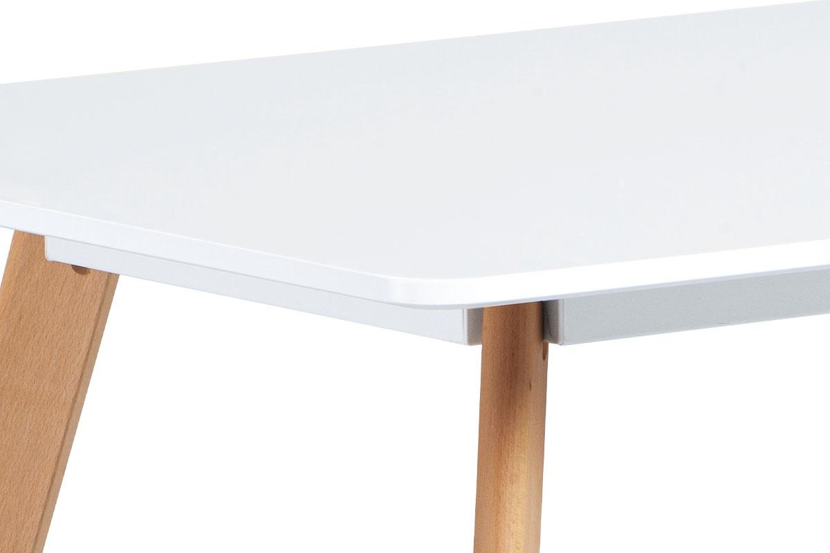 Jídelní stůl 120x80 cm, MDF, bílý matný lak, masiv buk, přírodní odstín - DT-605 WT
