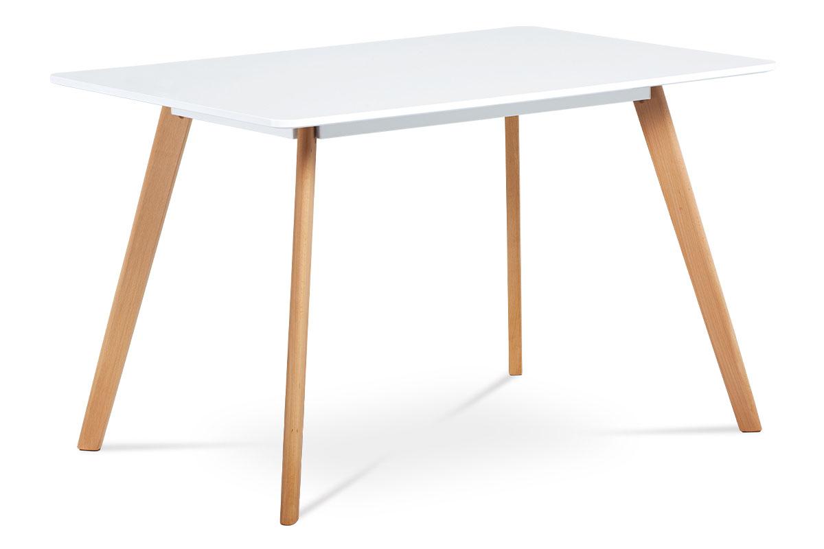 Autronic - Jídelní stůl 120x80 cm, MDF, bílý matný lak, masiv buk, přírodní odstín - DT-605 WT