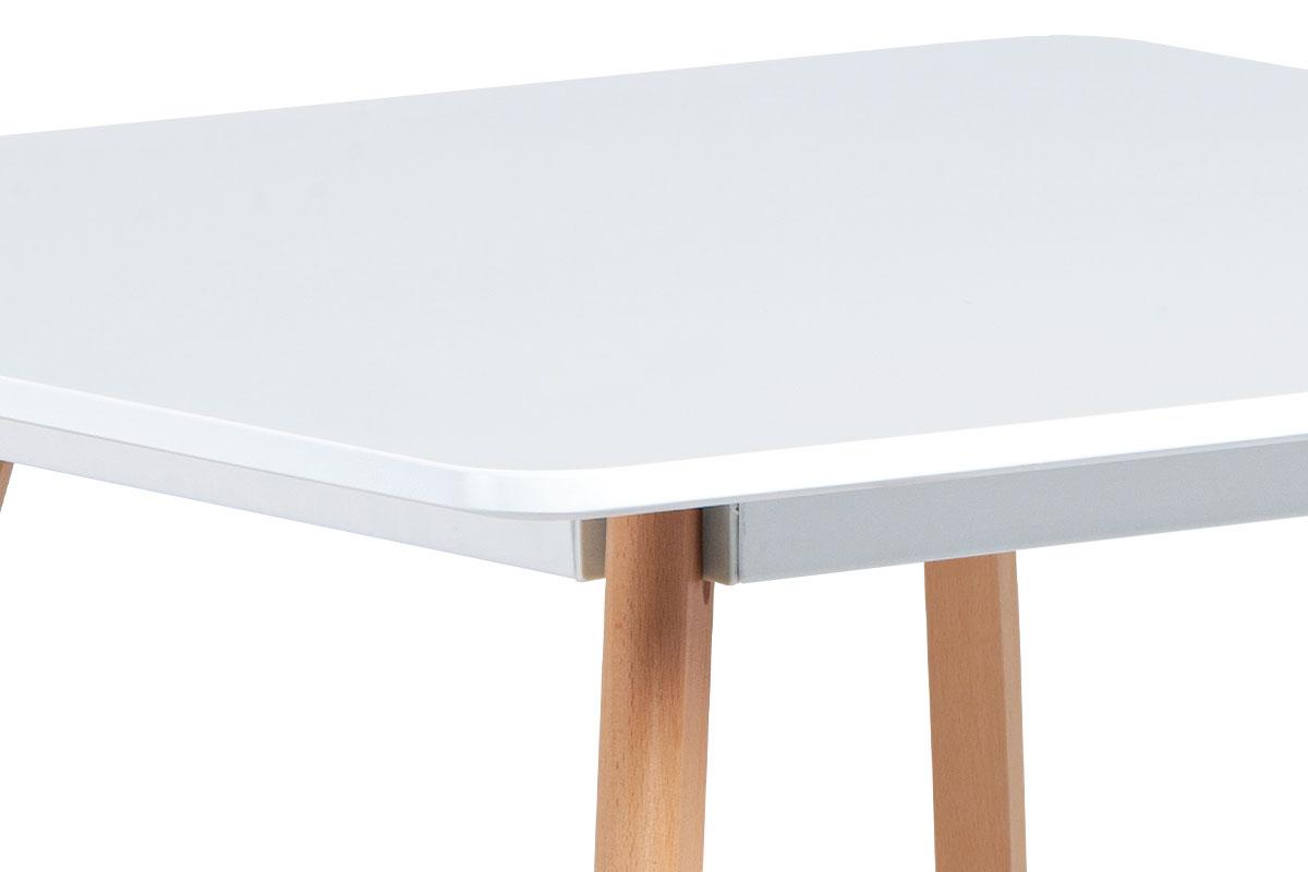 Jídelní stůl 80x80 cm, MDF, bílý matný lak, masiv buk, přírodní odstín - DT-606 WT