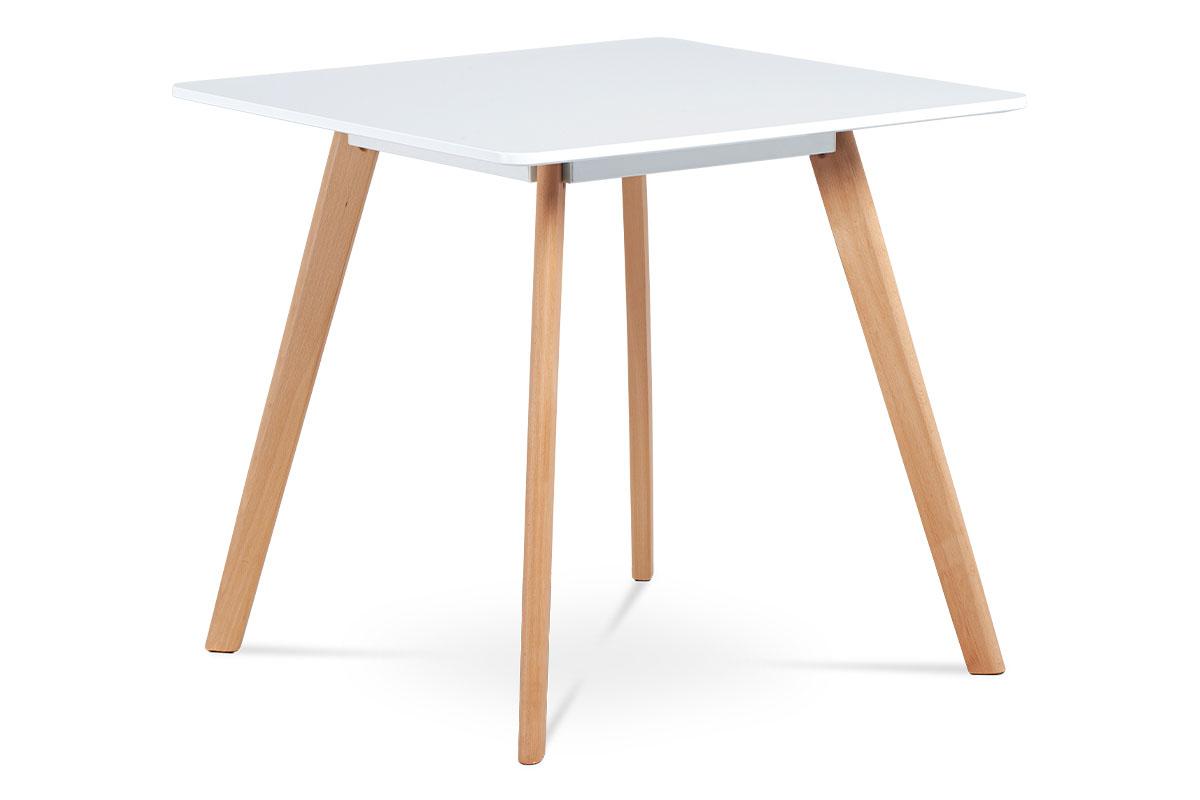 Autronic - Jídelní stůl 80x80 cm, MDF, bílý matný lak, masiv buk, přírodní odstín - DT-606 WT