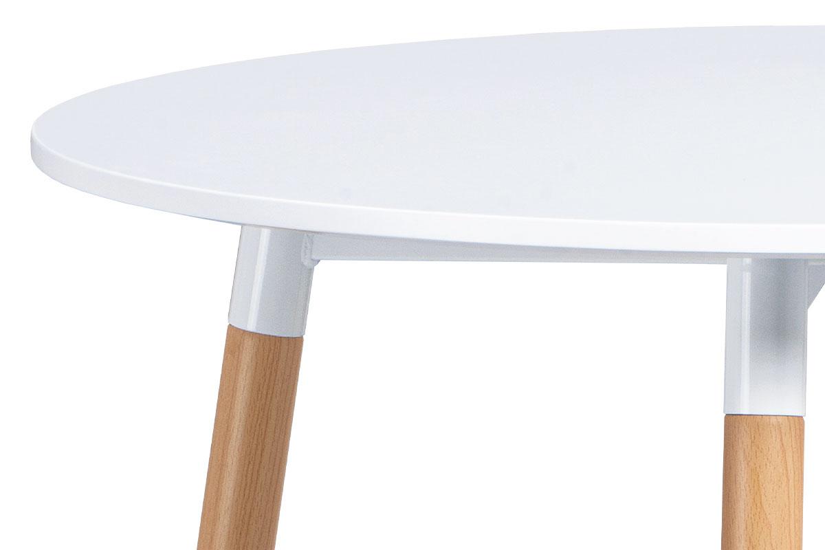 Jídelní stůl pr.80 cm, bílá matná MDF, kov buk + chrom - DT-608 WT