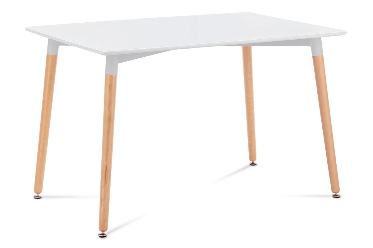 Autronic - Jídelní stůl 120x80x76 cm, MDF / kovová kostrukce - bílý matný lak, dřevěné nohy masiv buk, přírodní odstín - DT-705 WT1