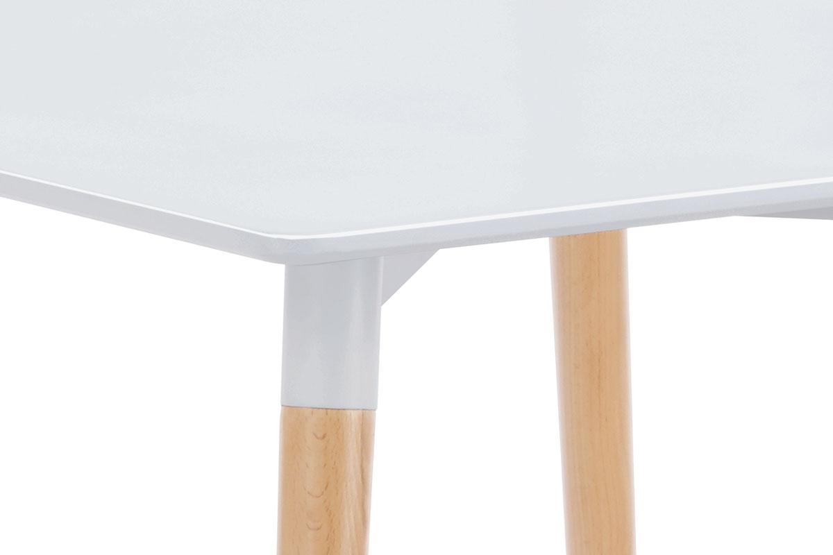 Jídelní stůl 80x80x76 cm, MDF / kovová kostrukce - bílý matný lak, dřevěné nohy - DT-706 WT