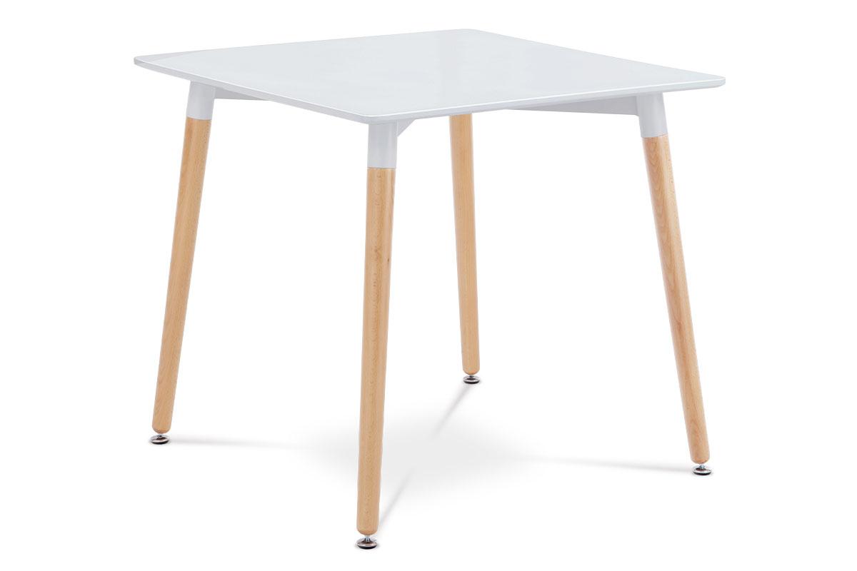 Autronic - Jídelní stůl 80x80x76 cm, MDF / kovová kostrukce - bílý matný lak, dřevěné nohy masiv buk, přírodní odstín - DT-706 WT1