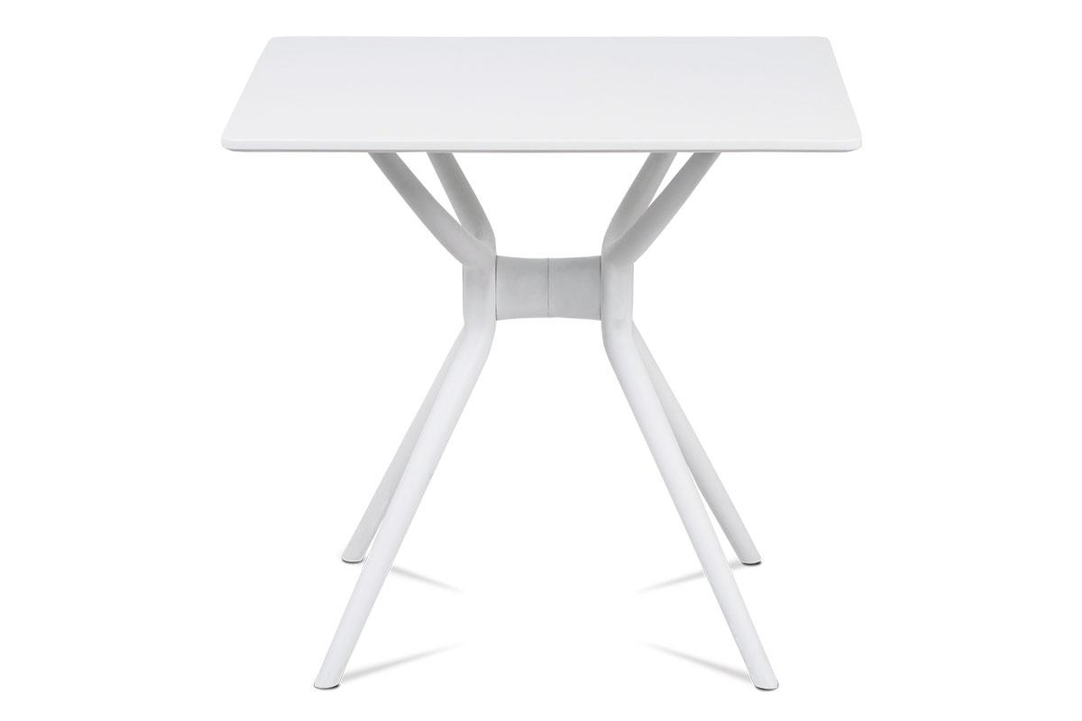 Jídelní stůl 80x80, bílá MDF, plast bílý - DT-751 WT