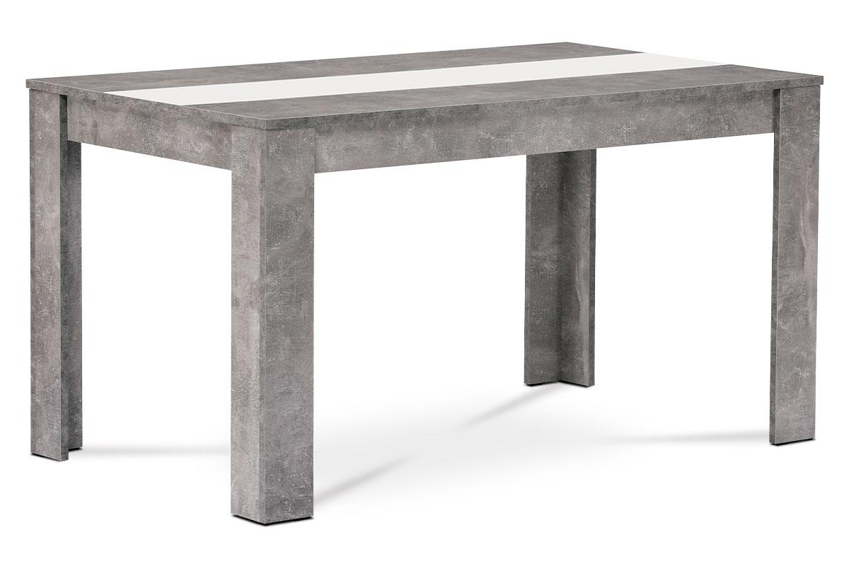 Jídelní stůl 138x80x74 cm, MDF, lamino dekor beton, dekorační pruh v černé a bíl - DT-P140 BET