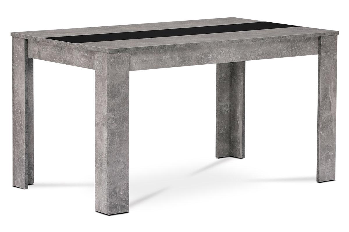 Autronic - Jídelní stůl 138x80x74 cm, MDF, lamino dekor beton, dekorační pruh v černé a bílé barvě - DT-P140 BET