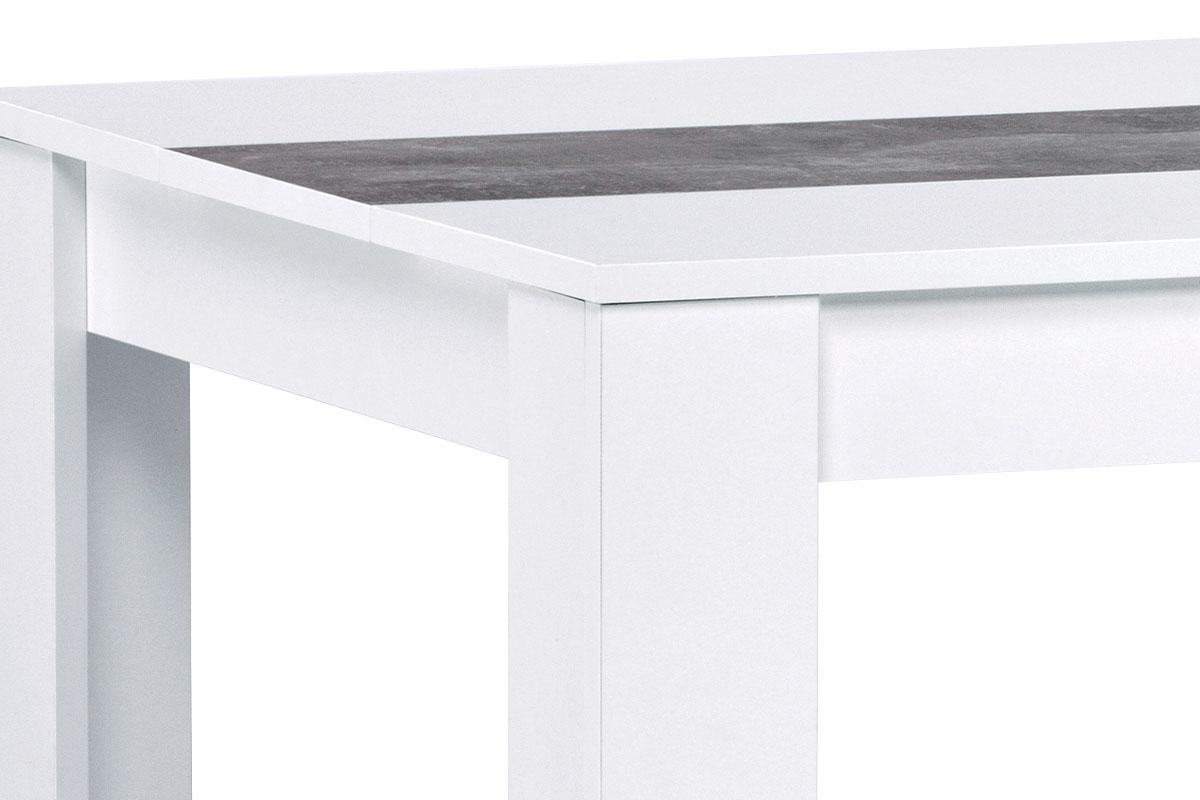 Jídelní stůl 138x80x74 cm, MDF, bílé lamino, dekorační pruh v dekoru beton - DT-P140 WT