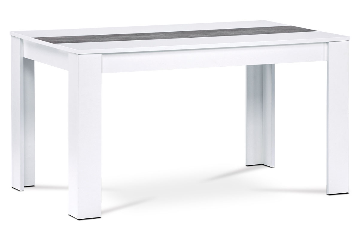 Autronic - Jídelní stůl 138x80x74 cm, MDF, bílé lamino, dekorační pruh v dekoru beton - DT-P140 WT