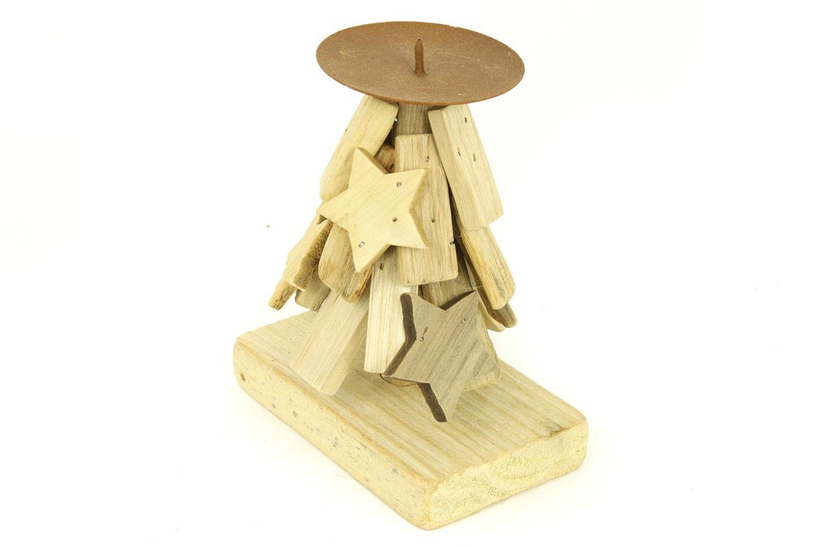 Autronic - Svícen dřevěný s bodcem na svíčku - DV2916