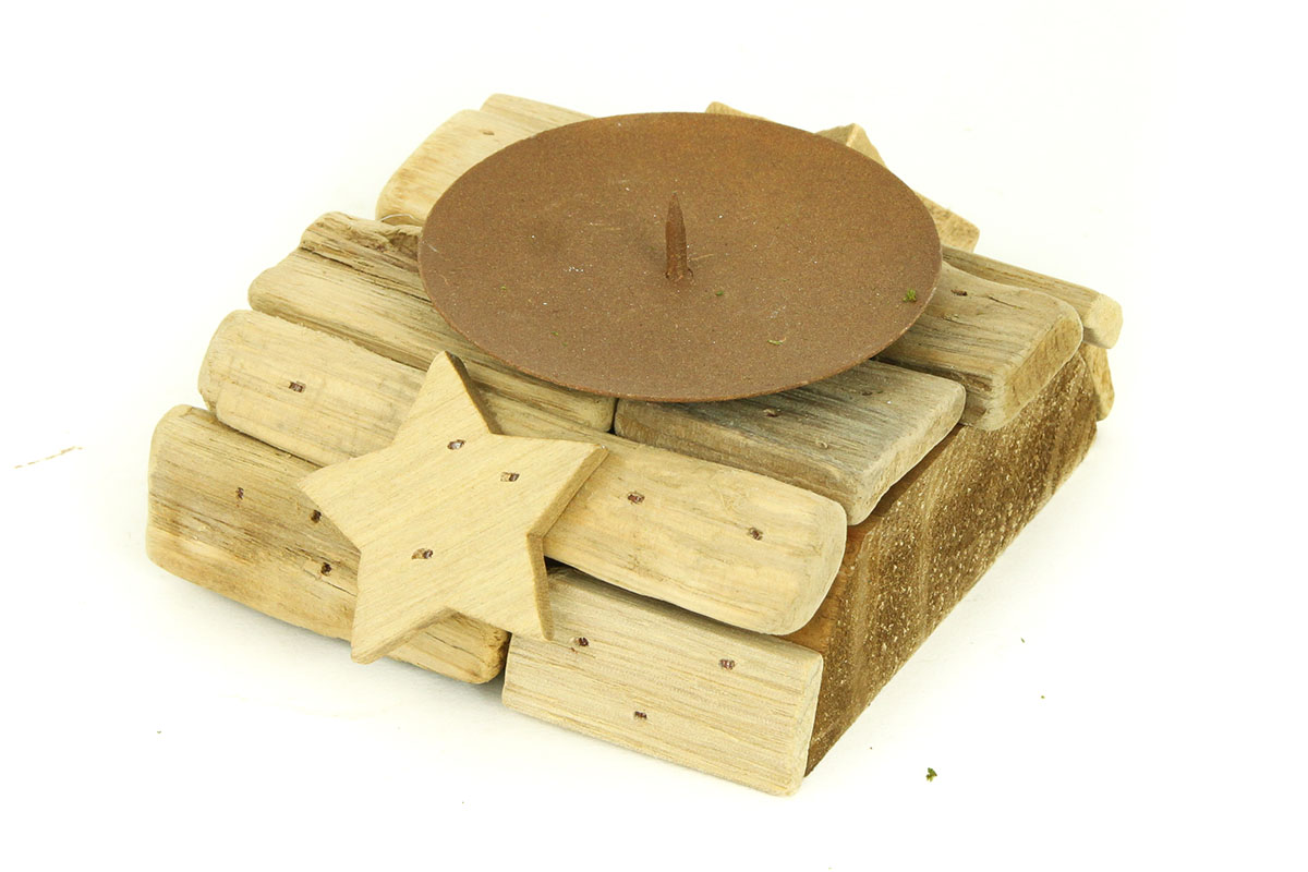 Autronic - Svícen dřevěný s bodcem na svíčku - DV2921