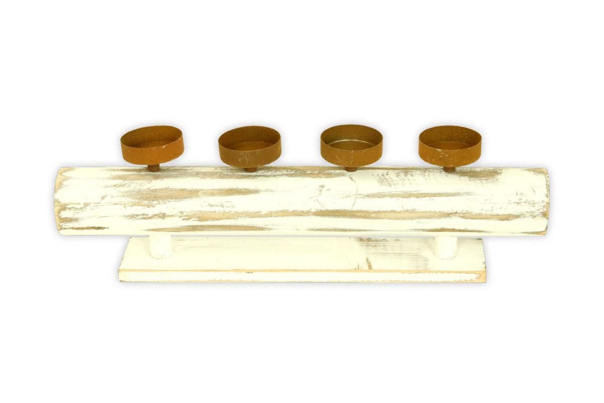 Autronic - Svícen adventní dřevěný s kalíšky na svíčku, štola - DV2939