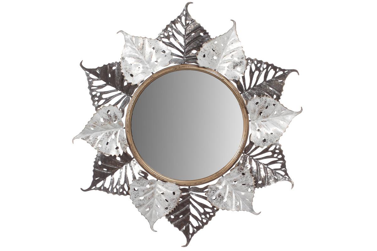 Autronic - Zrcadlo, nástěnná kovová dekorace, motiv lipových listů - FB-1459