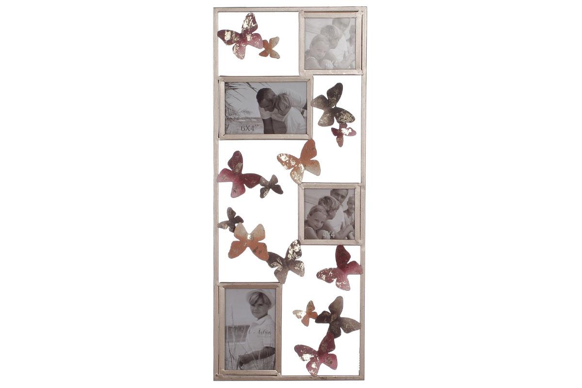 Autronic - Kovová nástěnná dekorace s foto rámečky a dekorem motýlů - FB-1460