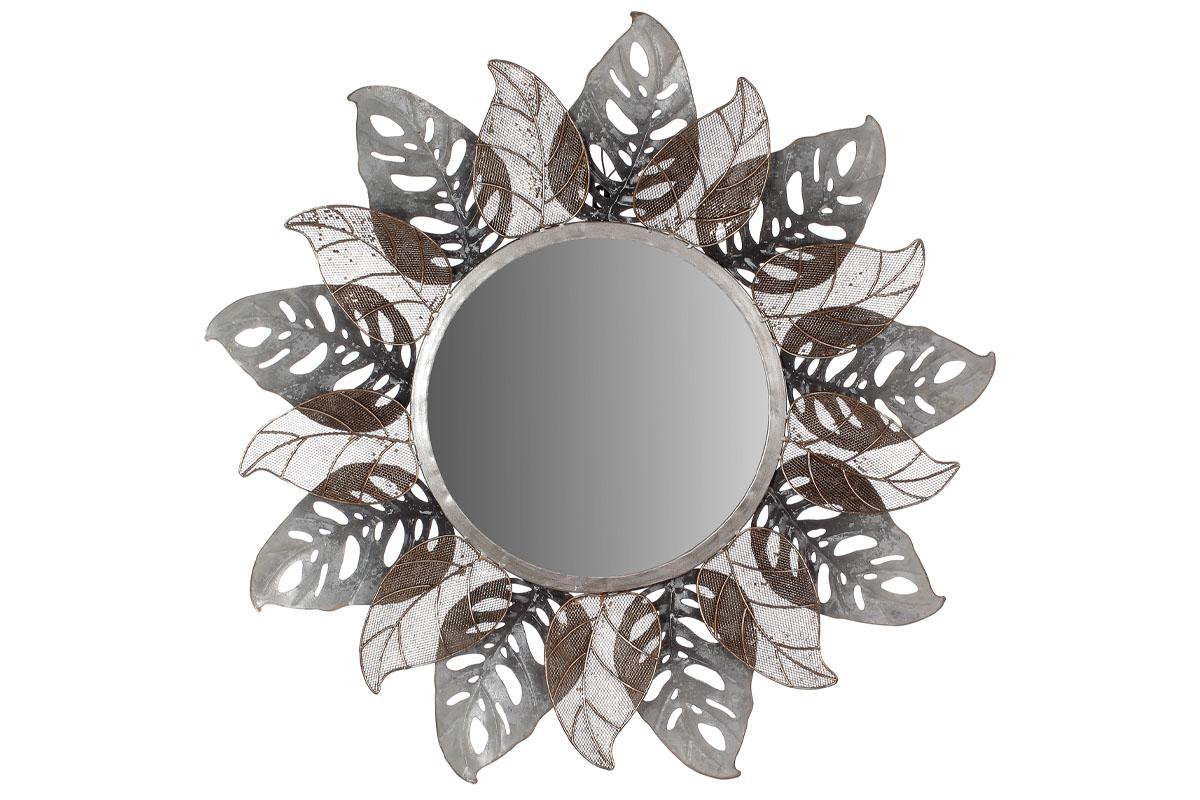 Autronic - Zrcadlo, nástěnná kovová dekorace, motiv listů - FB-1464