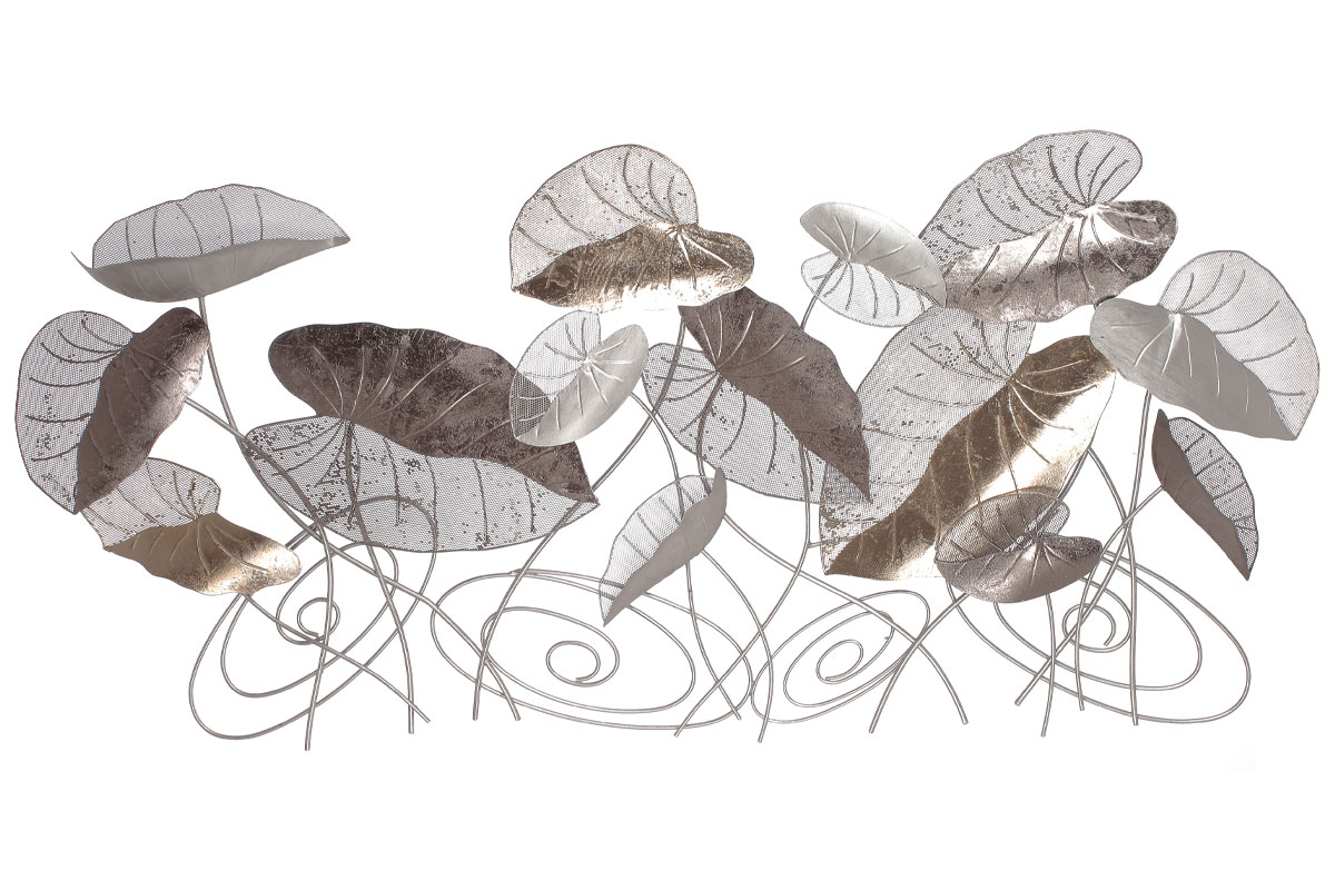 Autronic - Kovová nástěnná dekorace s dekorem listů - FB-1469
