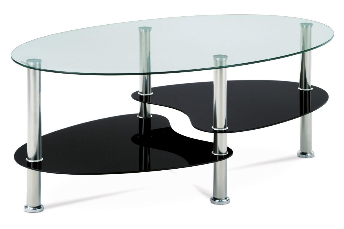 Autronic - Konferenční stolek, čiré sklo / černé sklo / leštěný nerez - GCT-302 GBK1