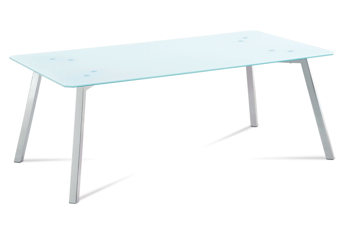 Autronic - Konferenční stolek 120x65x45 cm, bílé sklo / chrom - GCT-530 WT
