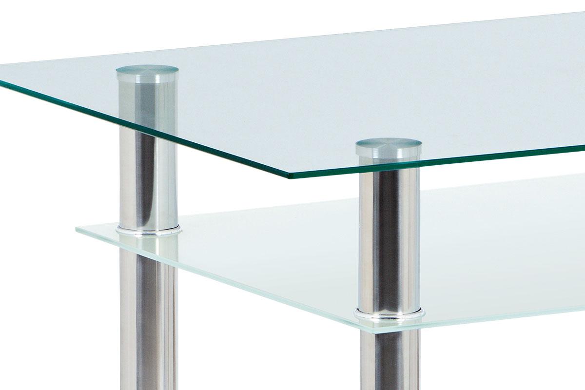 Jídelní stůl 90x60 cm, číré/mléčné sklo temperované + chrom - GDT-111 CLR