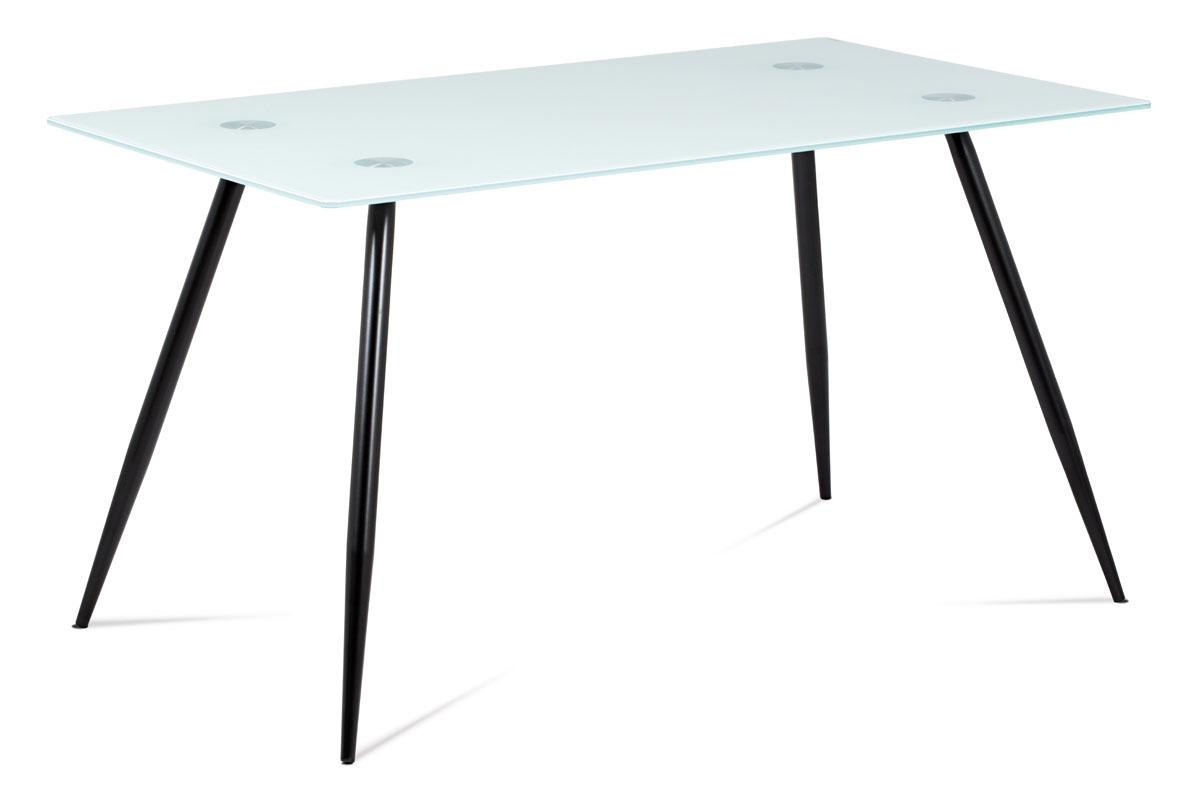 Autronic - Jídelní stůl 140x80x75 cm mléčné sklo + nohy černý lak - GDT-113 WT