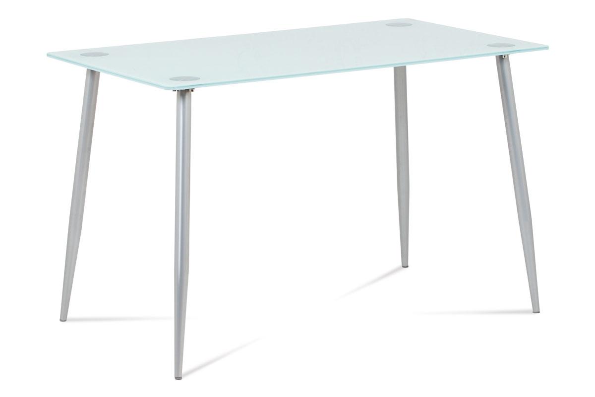 Autronic - Jídelní stůl 120x70x76 cm mléčné sklo, nohy šedý lak - GDT-115 WT