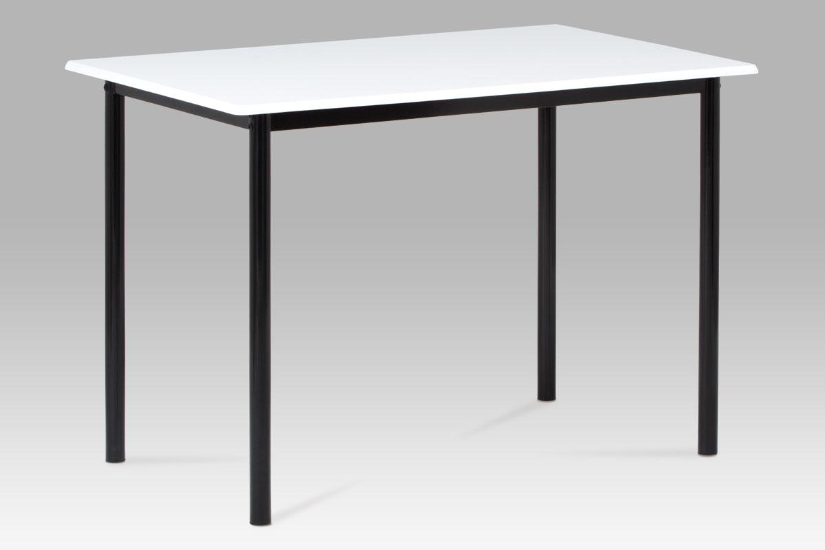 Autronic - Jídelní stůl 110x70 cm, vysoký lesk bílý / černý lak - GDT-222 WT