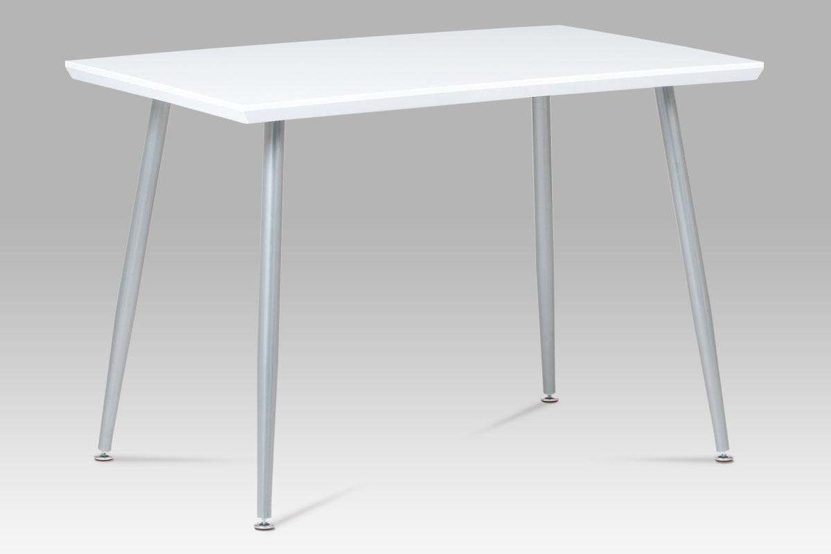 Autronic - Jídelní stůl 110x70 cm, MDF vys. lesk bílý / šedý lak - GDT-227 WT