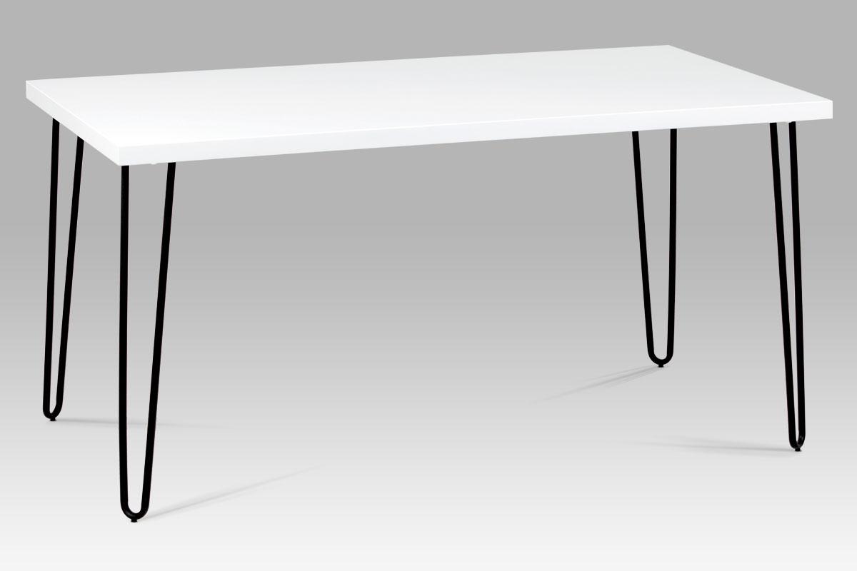 Autronic - Jídelní stůl 150x80 cm, bílý mat / černý kov - GDT-561 WT