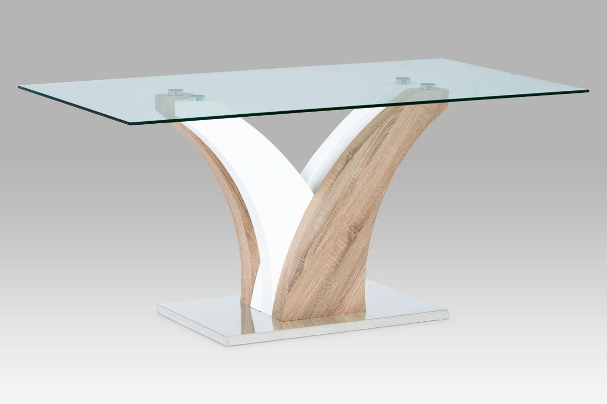 Autronic - Jídelní stůl 160x90 cm, čiré sklo / sonoma / vysoký lesk bílý - GDT-846 SON
