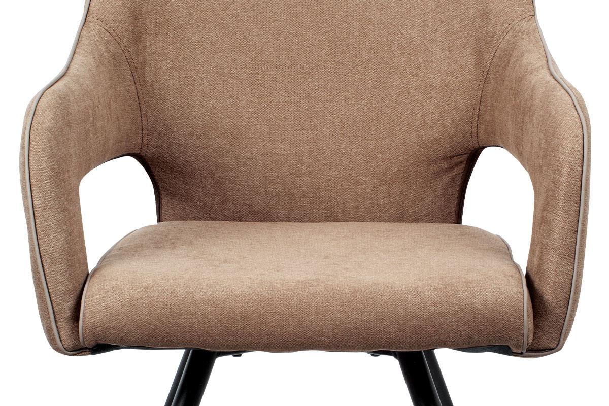 Jídelní židle, cappuccino látka, kovová podnož, černý matný lak - HC-031 CAP2
